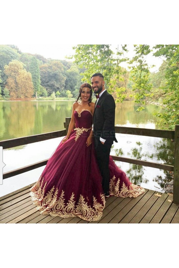 Long Burgundy Ball Gown Prom Formal Evening Party Dresses Gold Lace Appliques