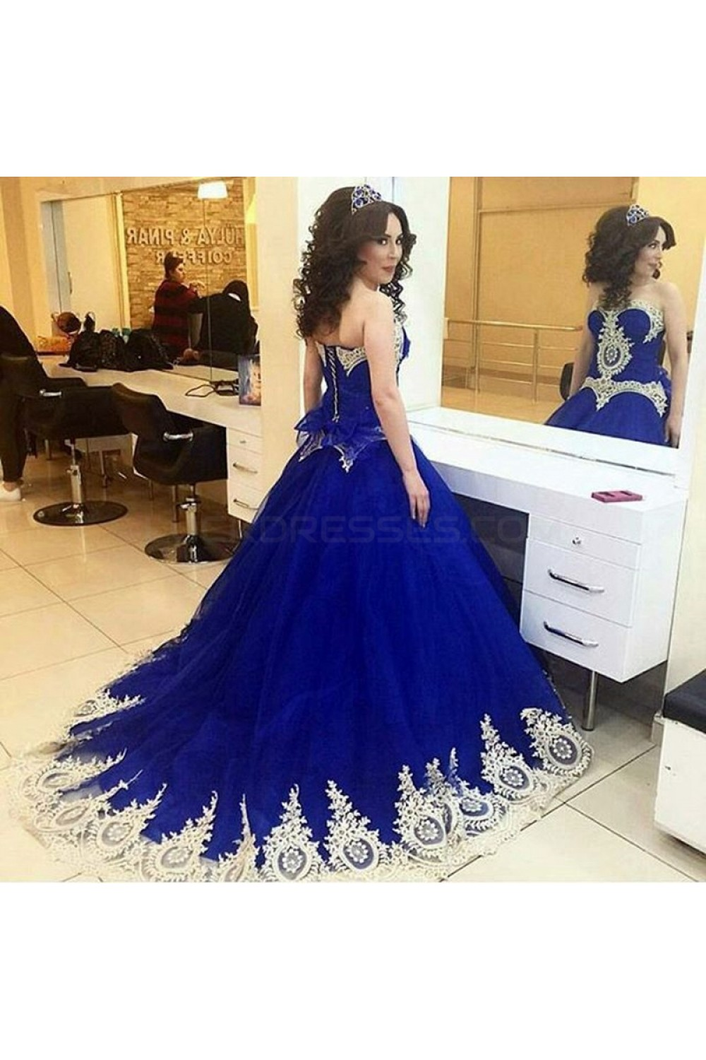 Long Blue Ball Gown Prom Formal Evening Party Dresses with Gold Lace ...