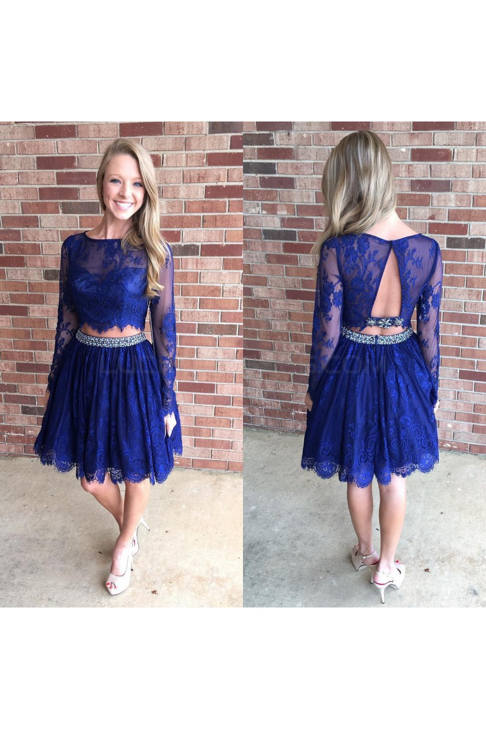 Beaded Lace Two Pieces Long Sleeves Prom Formal Evening Party ...