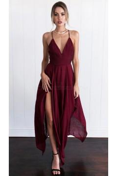 Asymmetrical Spaghetti Straps V-Neck Chiffon Prom Formal Evening Party Dresses 3021176