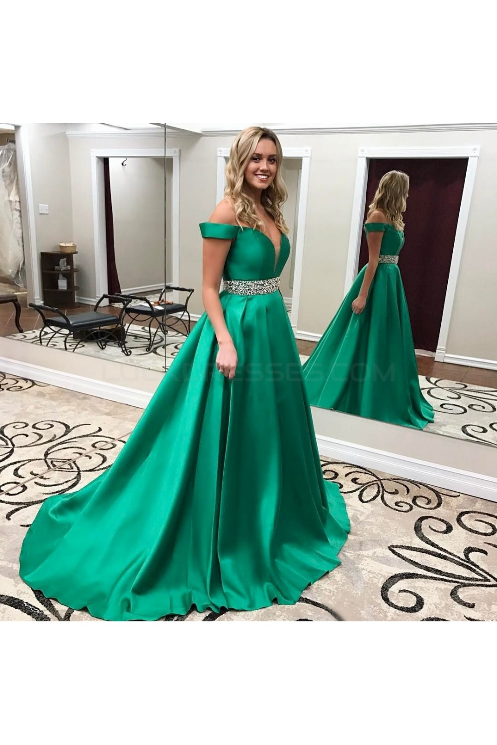 Beaded Long Green Off-the-Shoulder Prom Formal Evening Party Dresses ...
