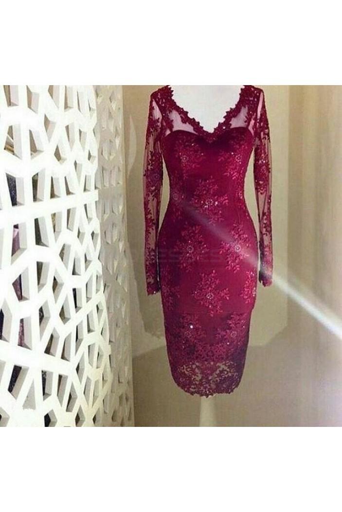 Long Sleeves V-Neck Knee-Length Formal Evening Mother of The Bride Dresses 3021234