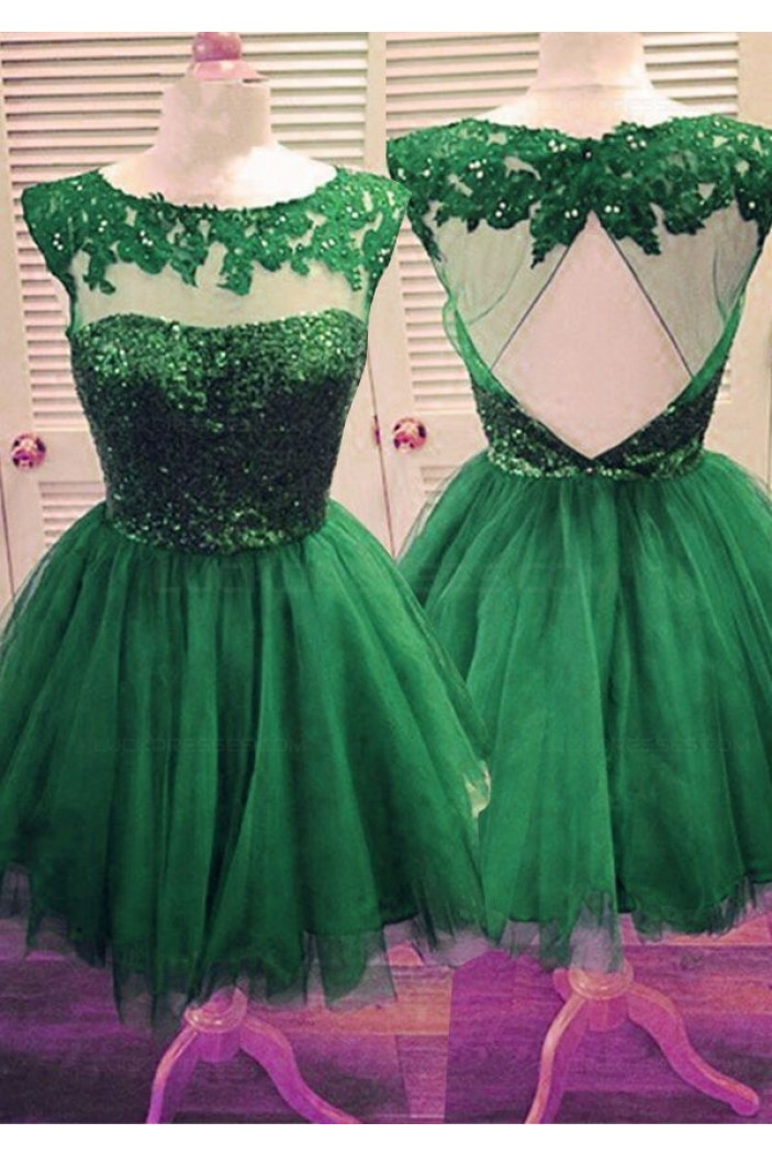 Short Green Sequins Lace Appliques Prom Evening Homecoming Cocktail Dresses 3020126
