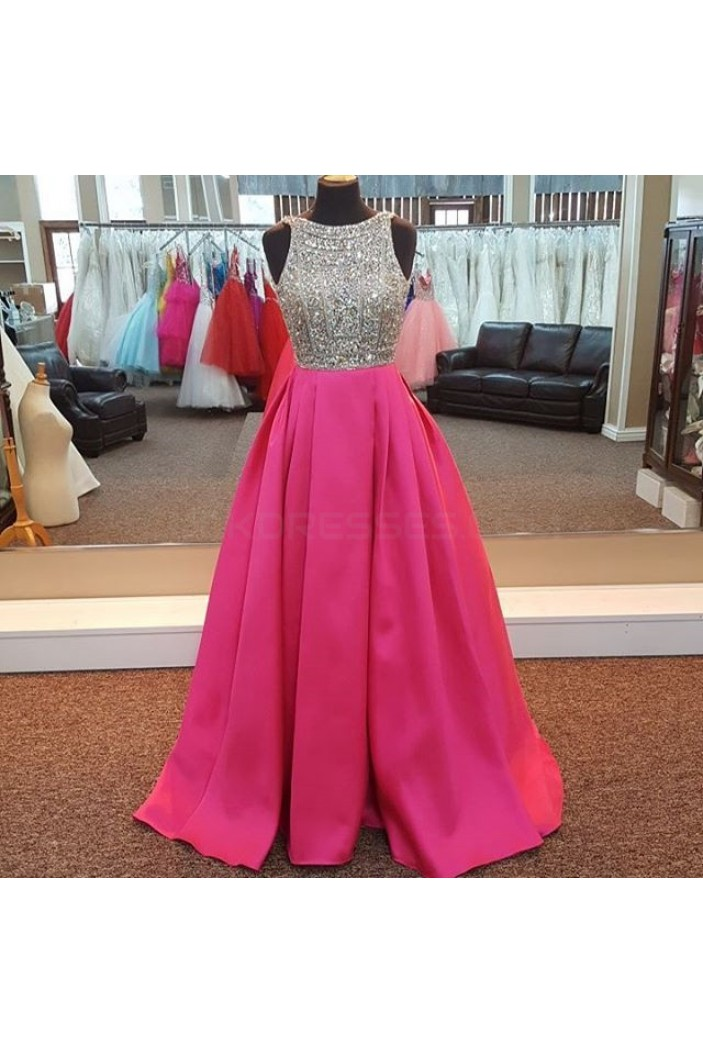 A-Line Beaded Long Prom Formal Evening Party Dresses 3021275