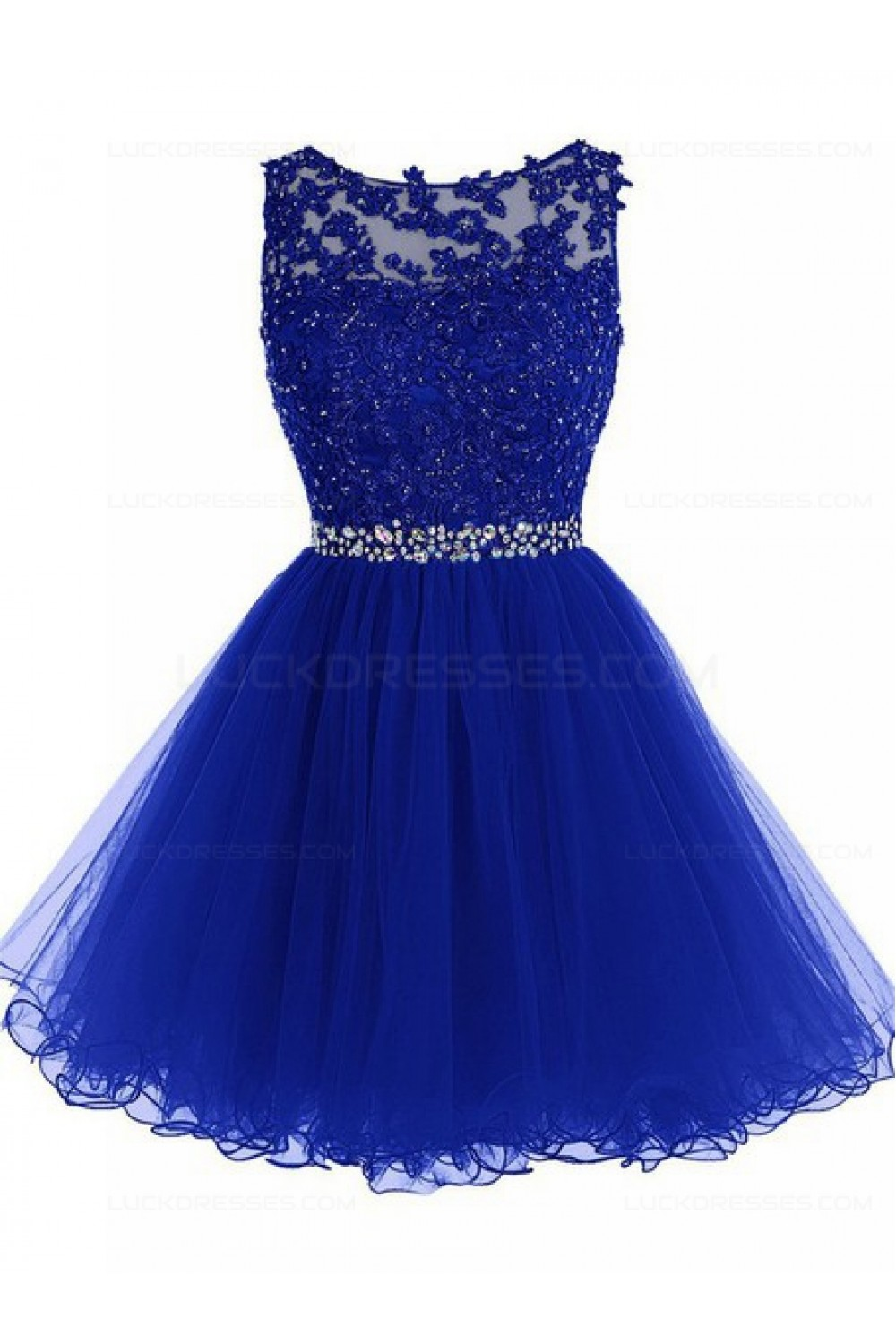 1c6358f206 Beaded Short Royal Blue Lace Appliques Tulle Prom Evening ...