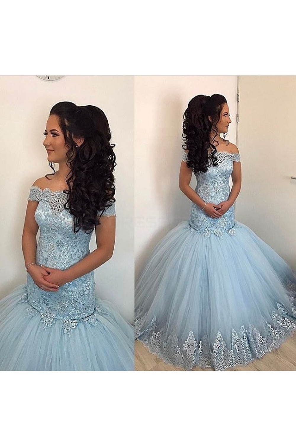 Mermaid Off-the-Shoulder Lace Appliques Long Prom Formal Evening ...