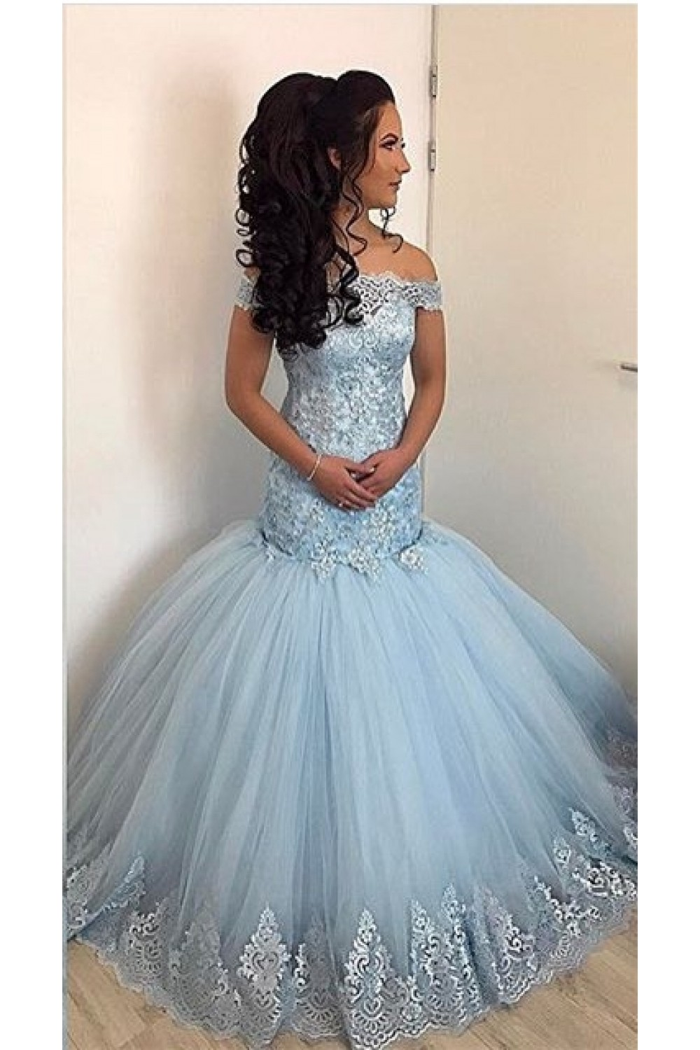 Mermaid Off The Shoulder Lace Appliques Long Prom Formal