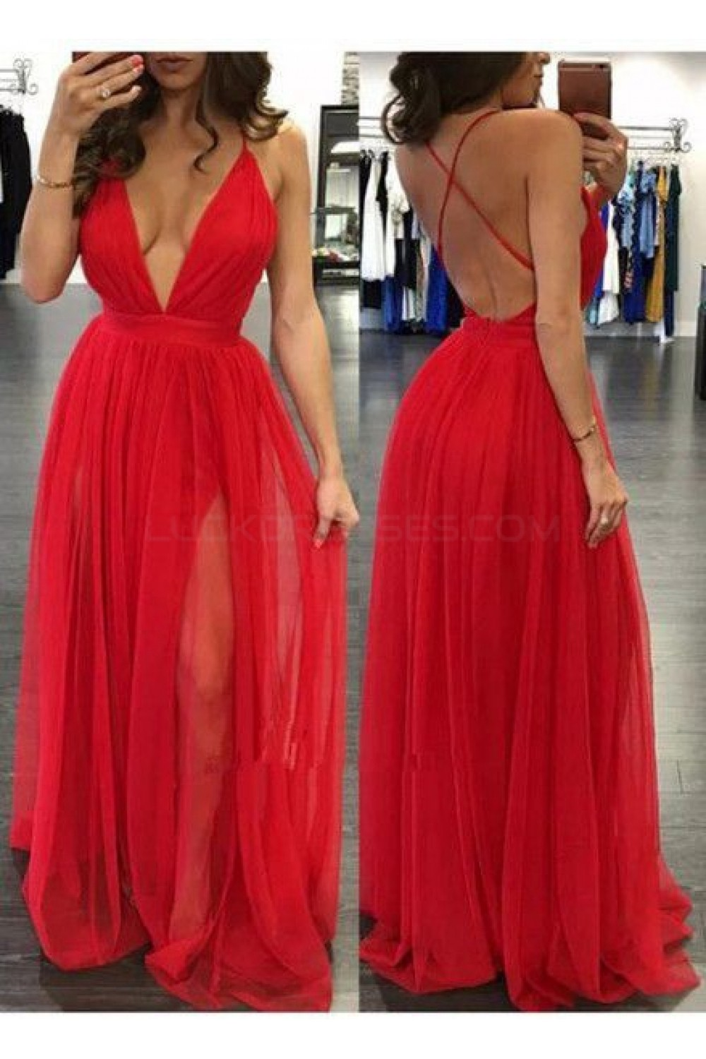 sexy deep vneck spaghetti straps long red prom formal