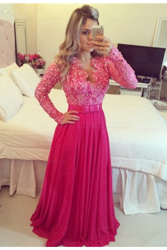 Long Sleeves Beaded Lace Chiffon Long Prom Evening Formal Dresses 3020135