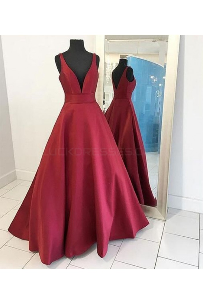 A-Line Burgundy V-Neck Long Prom Formal Evening Party Dresses 3021375