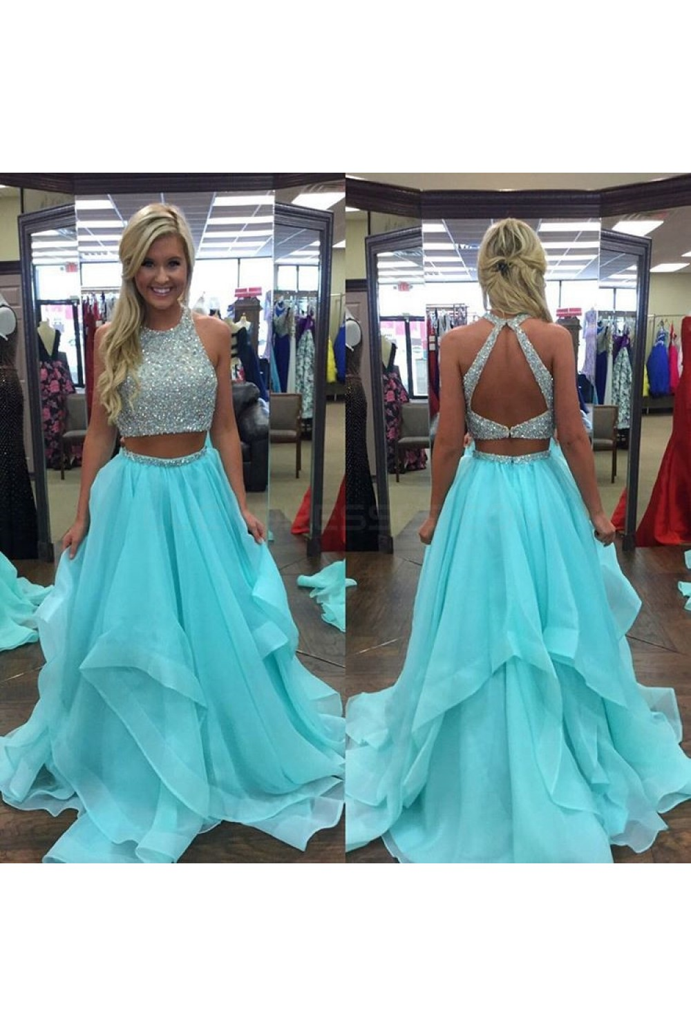 Beaded Two Pieces Long Blue Prom Formal Evening Party Dresses 3021381