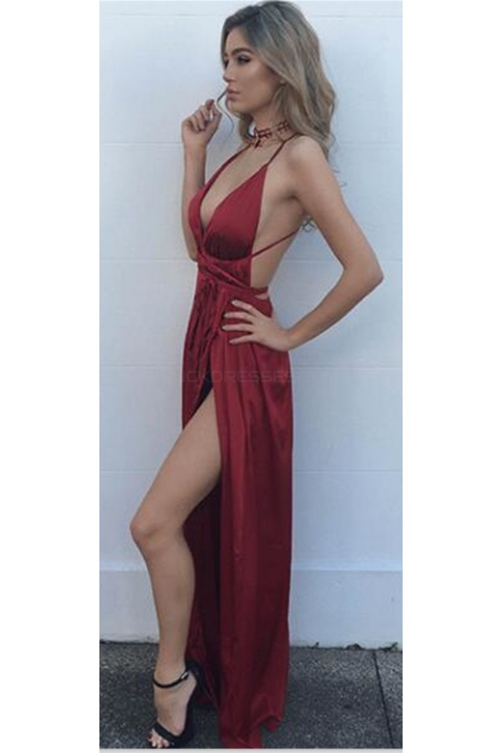 72f47dc59ce8 Sexy Deep V-Neck Criss Cross Back Long Burgundy Prom Formal Evening Party  Dresses 3021397