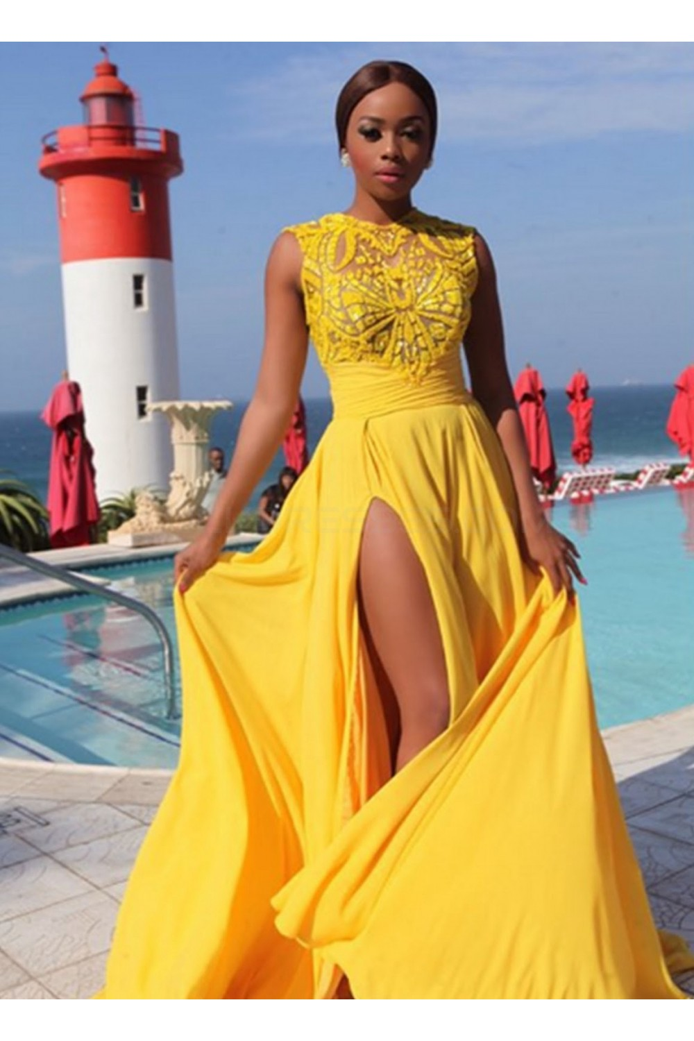 Long Yellow Chiffon Prom Formal Evening Party