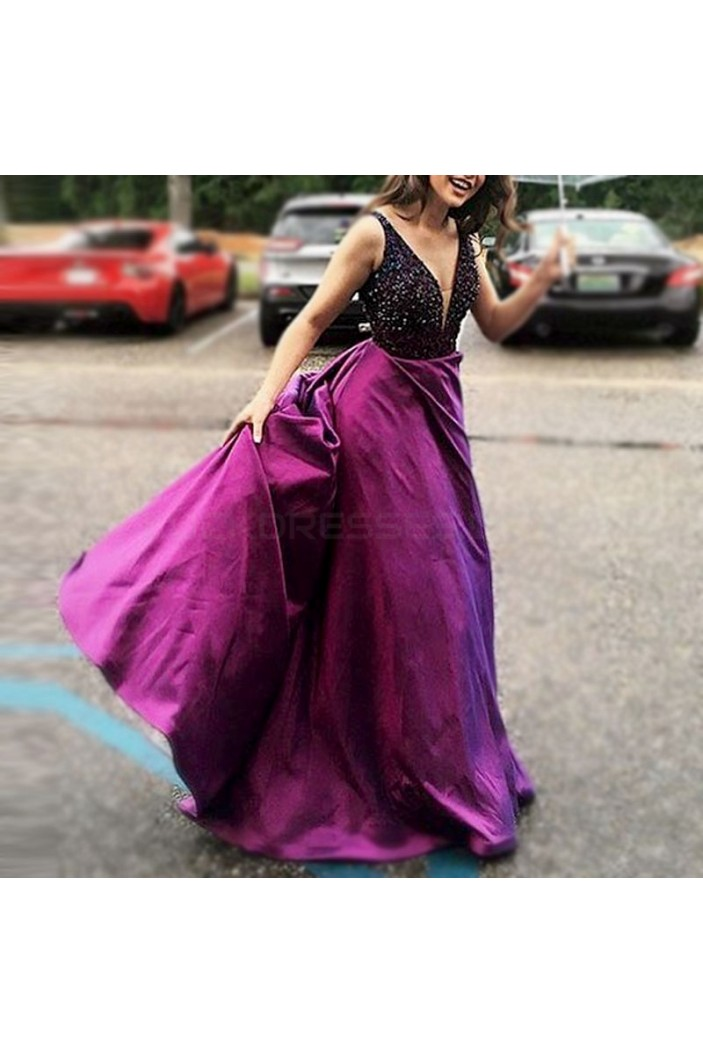 Long Purple V-Neck Prom Formal Evening Party Dresses 3021426