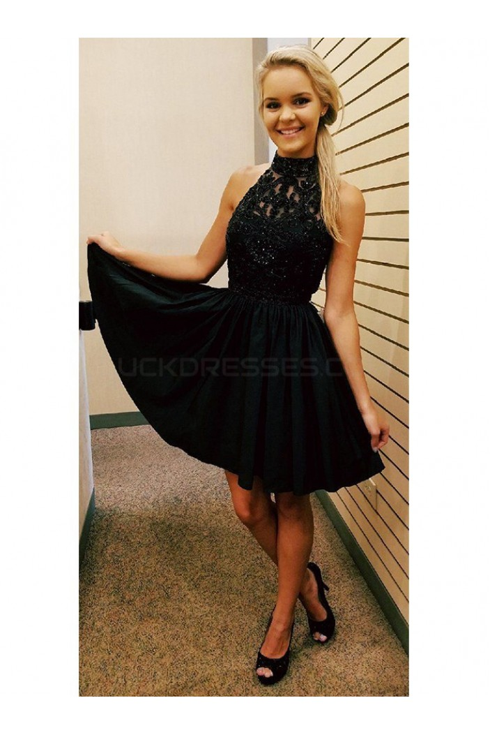 Short Black Lace Prom Homecoming Cocktail Graduation
