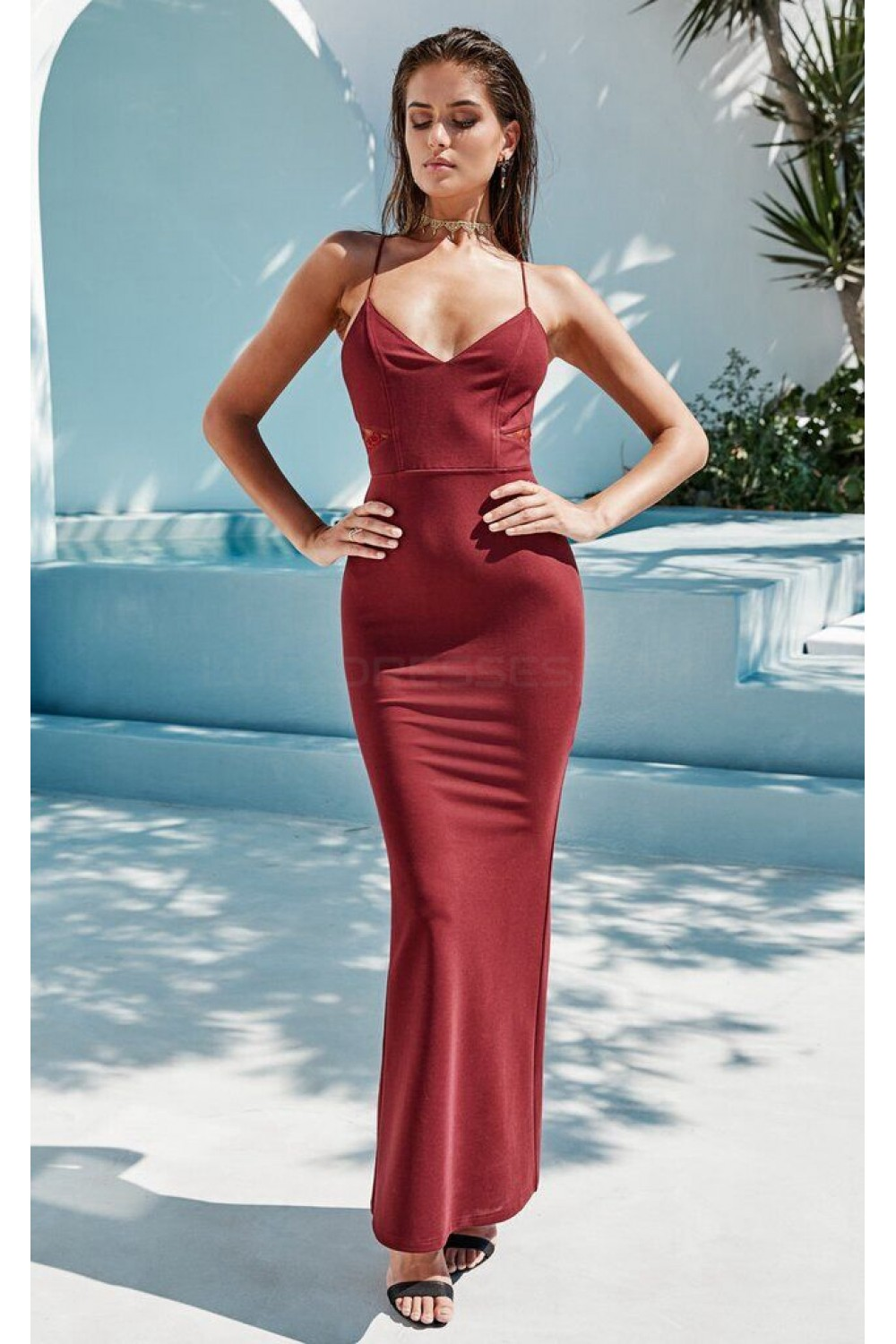 mermaid spaghetti straps lace prom formal evening party