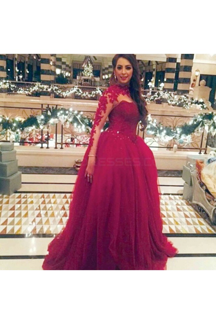 Ball Gown Long Sleeves Lace Prom Formal Evening Party Dresses 3021458