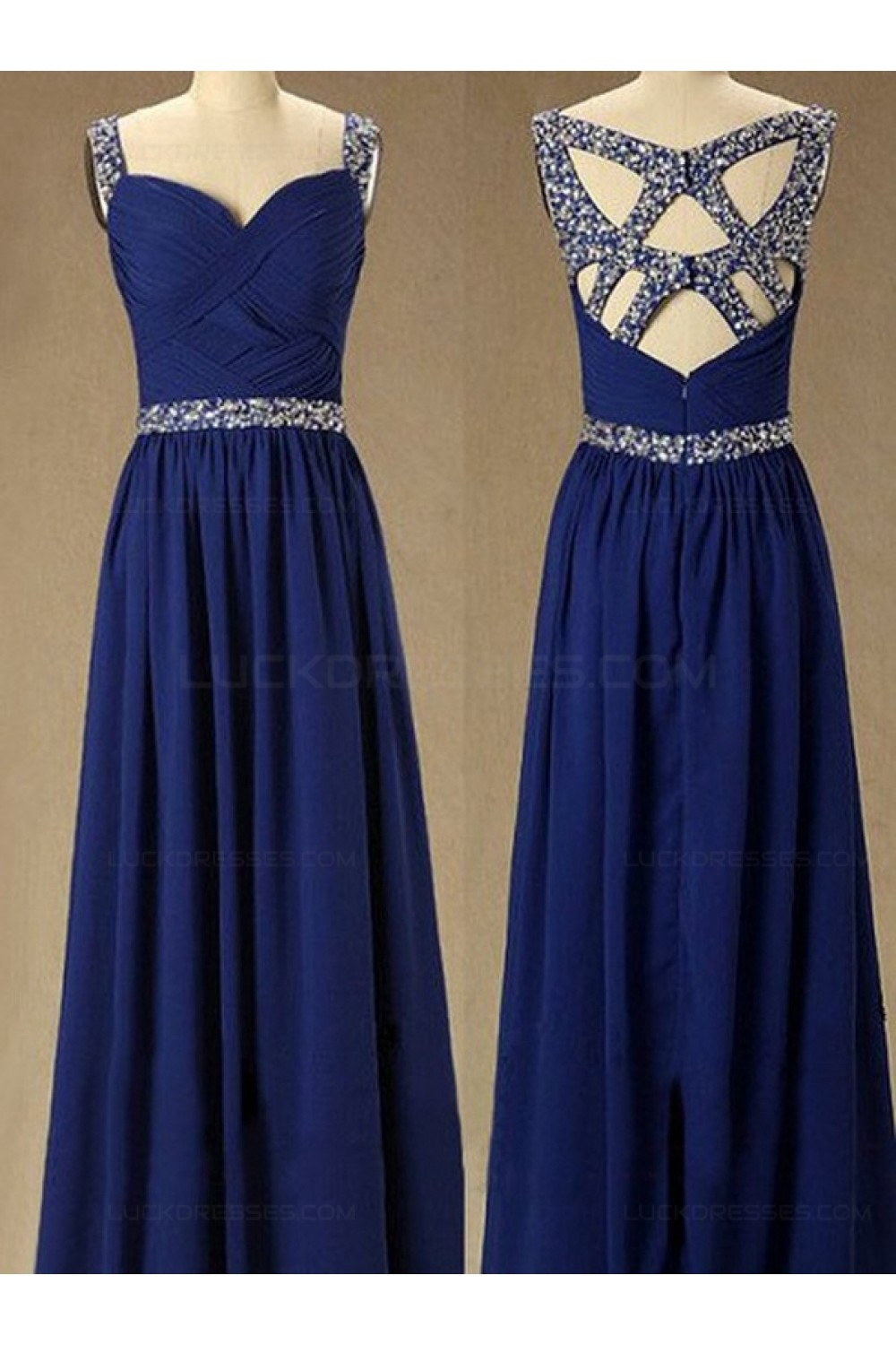 Long Royal Blue Beaded Straps Sleeveless Chiffon Prom Evening Formal ...