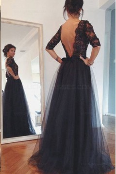 3/4 Length Sleeves Lace Top Long Black Mother of The Bride Prom Evening Formal Dresses 3020147