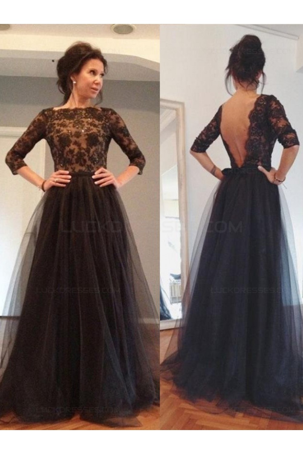 3/4 Length Sleeves Lace Top Long Black Mother of The Bride Prom ...