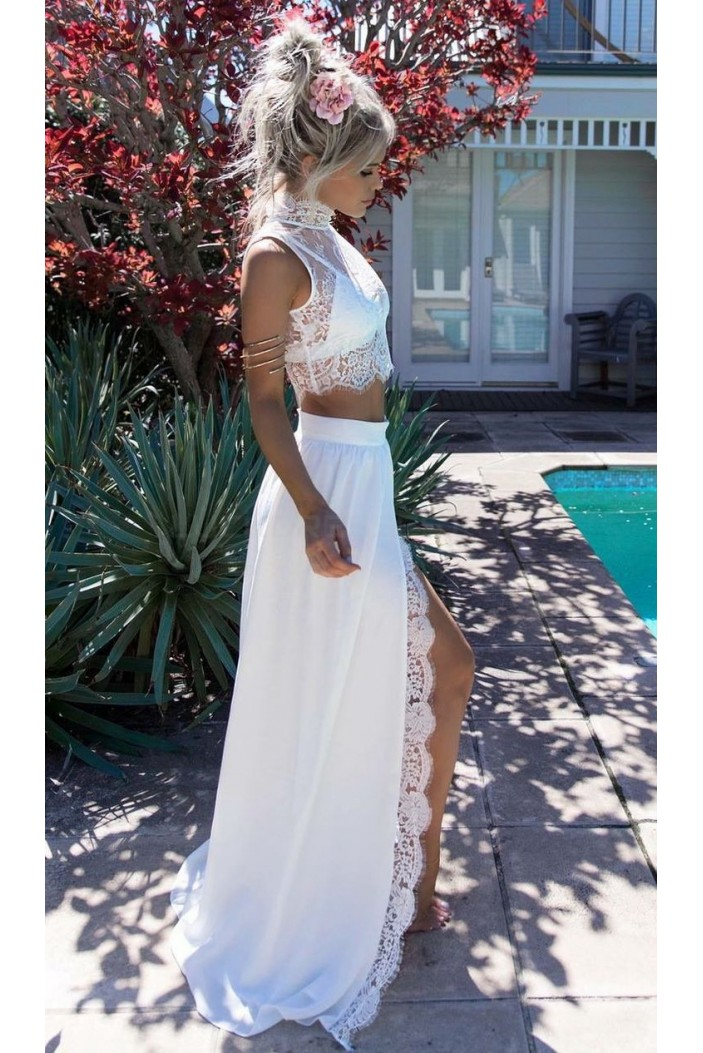 Long White Two Pieces Lace Prom Formal Evening Party Dresses 3021472