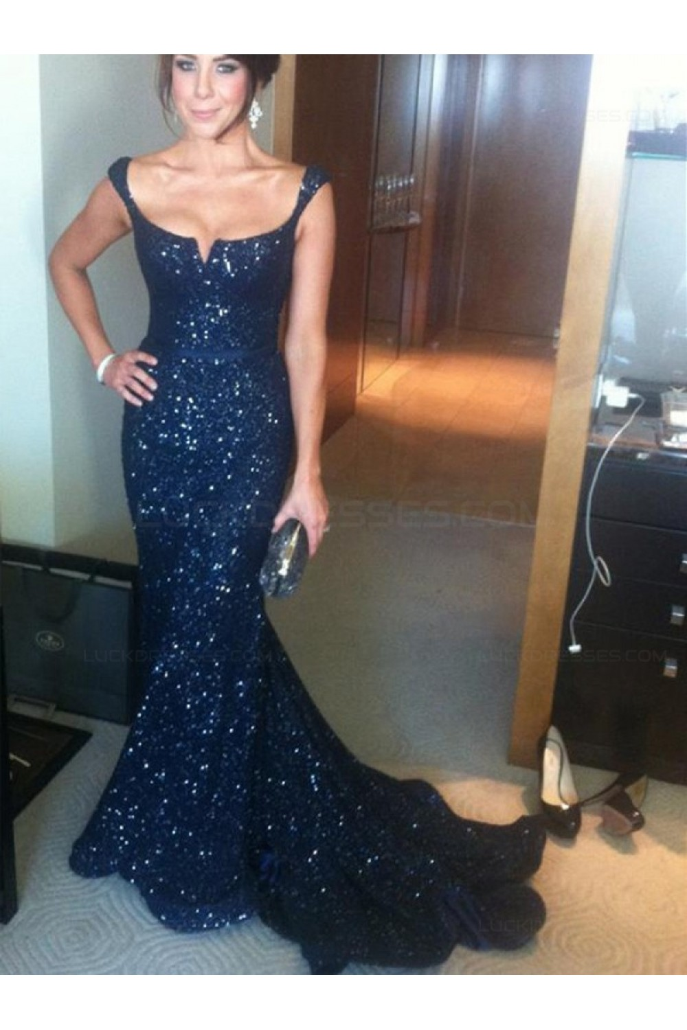 d13468f004 Navy Blue Mermaid Sequins Straps Sleeveless Long Prom Evening ...