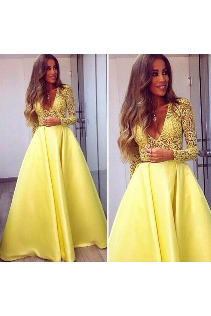 Long Yellow V-Neck Prom Formal Evening Party Dresses 3021490