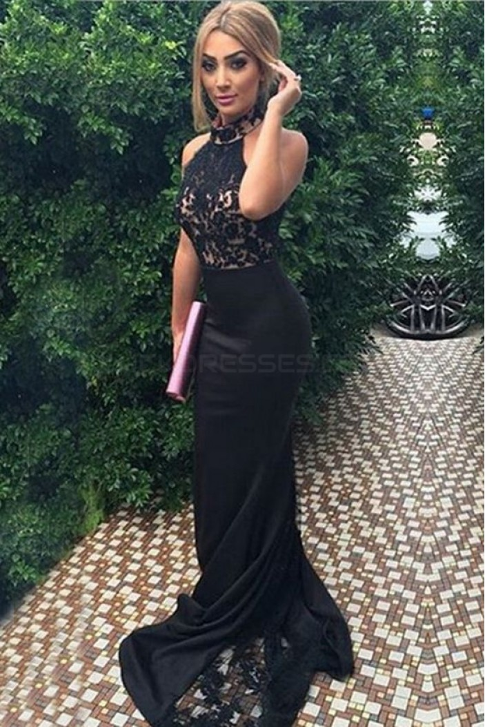Long Black Lace Halter Mermaid Prom Formal Evening Party Dresses 3021496