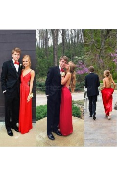 Long Red Backless Spaghetti Straps Prom Formal Evening Party Dresses 3021500