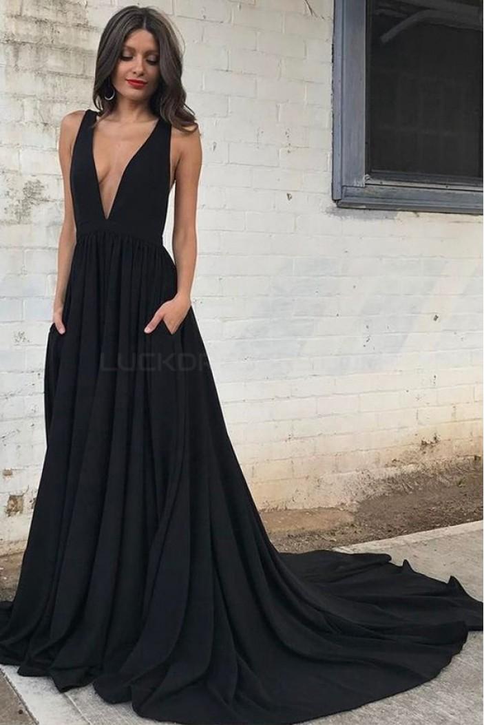 Long Black V-Neck Prom Formal Evening Party Dresses 3021501