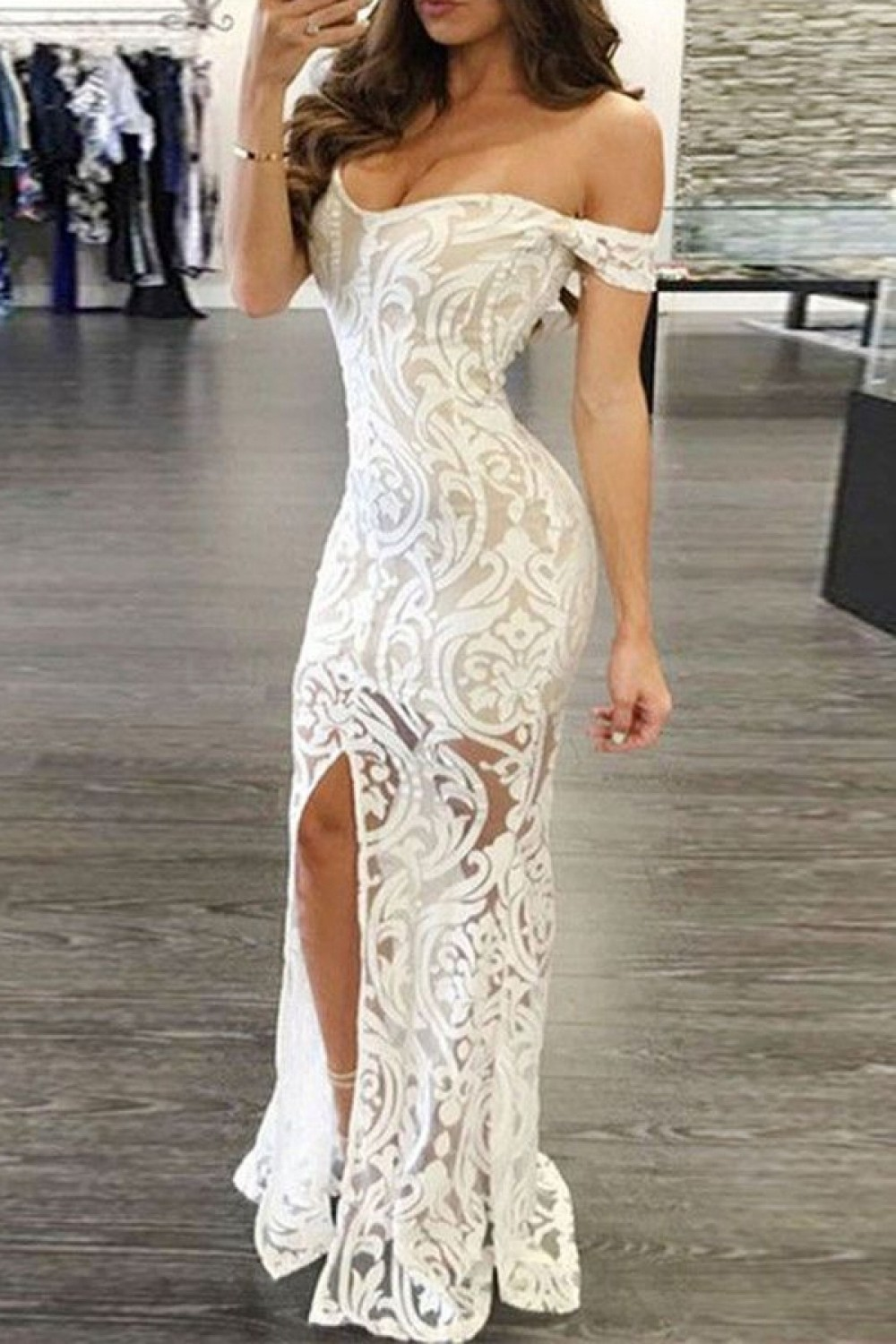 921c106590b Mermaid Off-the-Shoulder Long White Lace Prom Formal Evening ...