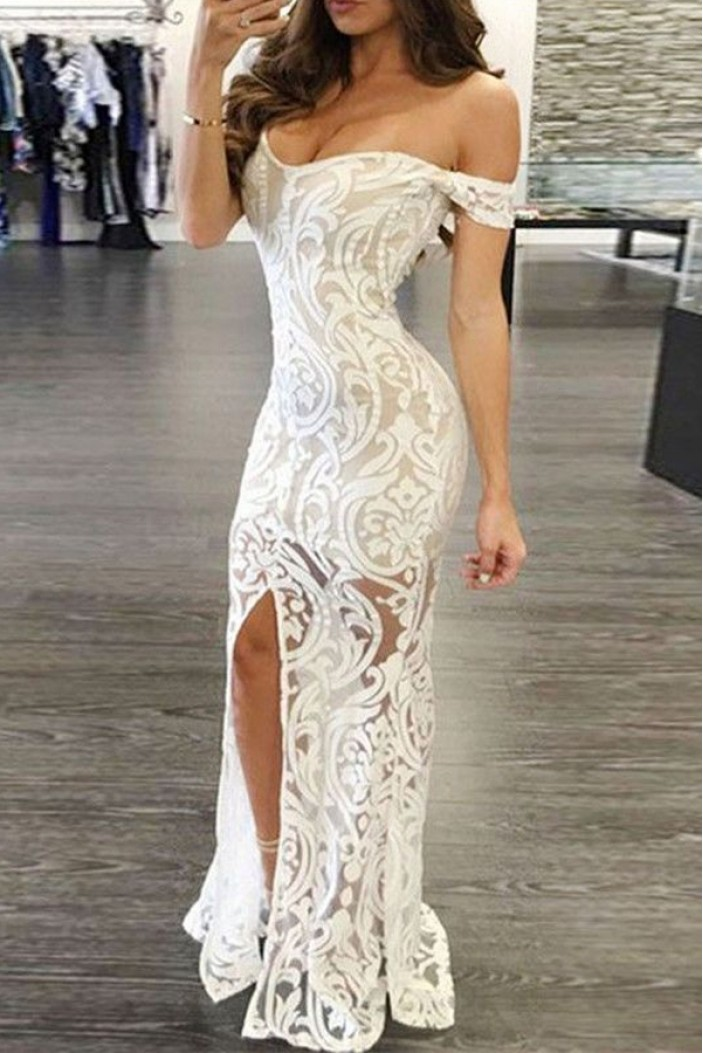 Mermaid Off-the-Shoulder Long White Lace Prom Formal ...