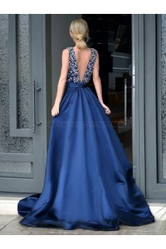 Long Blue Deep V-Neck Prom Formal Evening Party Dresses 3021521