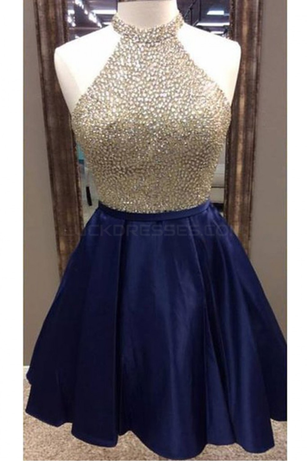 A Line Beaded Short Blue Prom Homecoming Cocktail