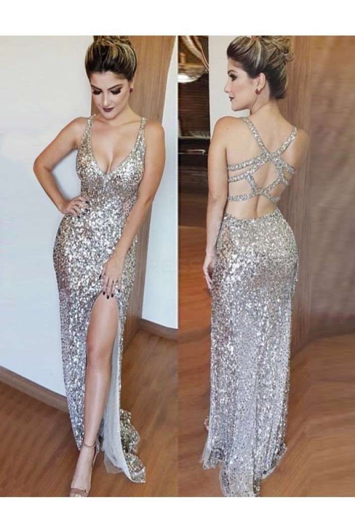 Sexy Sequins Long Prom Formal Evening Party Dresses 3021529