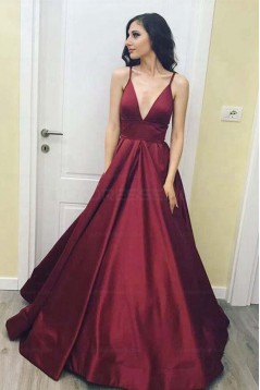 Simple Stunning V-Neck Long Prom Dresses Evening Party Gowns 3021536