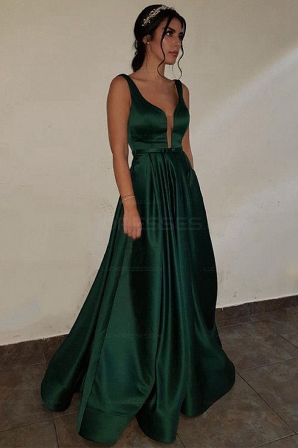 Deep V Neck Dark Green Prom Dresses With Pockets, Dark ...
