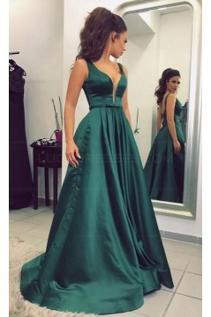 Elegant V-Neck Long Green Prom Evening Formal Dresses 3021541