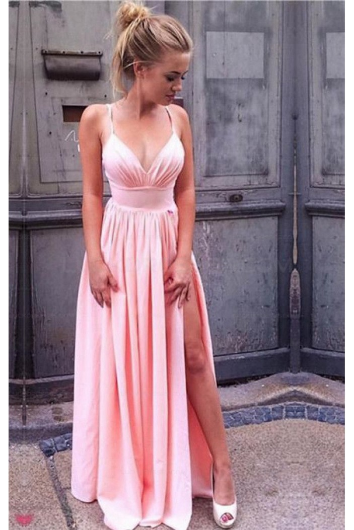 Long Pink V-Neck Prom Evening Formal Dresses with Side Slit 3021542