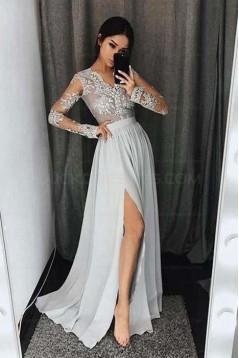 8ed1f52706 Long Sleeves V-Neck Lace Prom Evening Formal Dresses with Side Slit 3021546