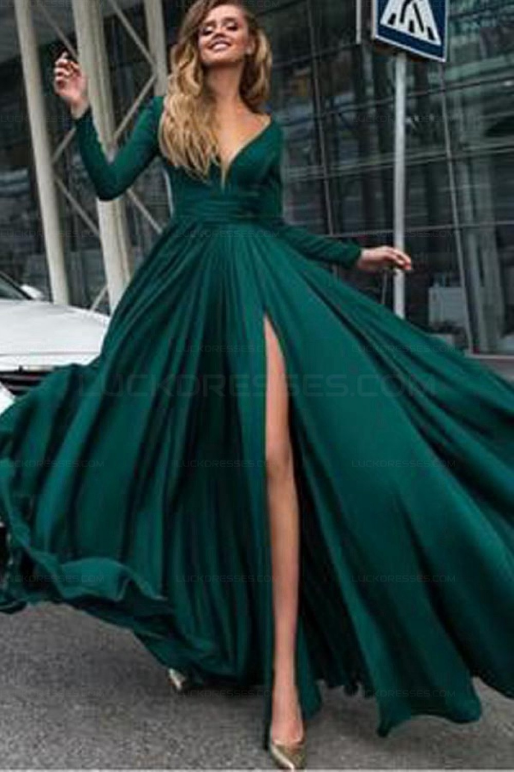 23ea3338db7c Sexy Deep V-Neck Prom Dress Long Sleeves Evening Gowns with Side Split  3021547