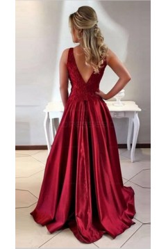 A-Line Satin Lace Long Prom Evening Formal Dresses 3021549