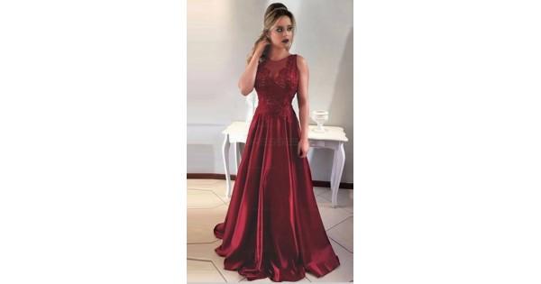 e95825d7d3 A-Line Satin Lace Long Prom Evening Formal Dresses 3021549