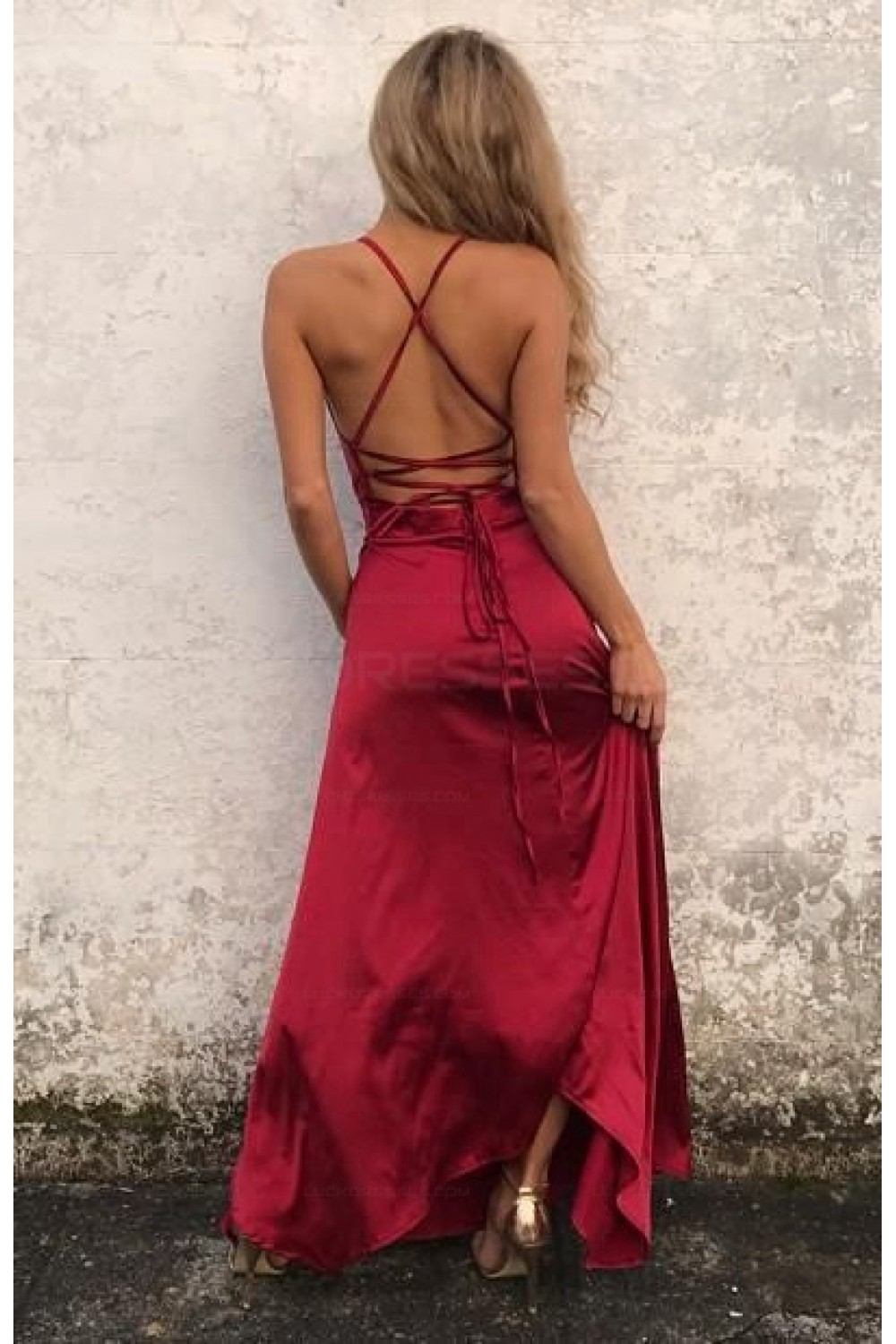Charming Long Sexy Prom Dress Fashion Slit Spaghetti