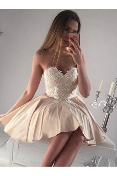 Short Sweetheart Prom Dress Sleeveless Appliques Homecoming Party Dresses 3021555