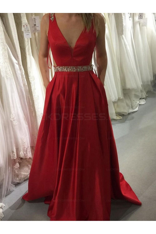 Long Red V Neck Beaded Prom Evening Formal Dresses 3021556