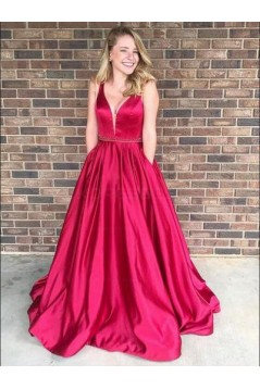 Ball Gown V-Neck Long Prom Evening Formal Dresses 3021559