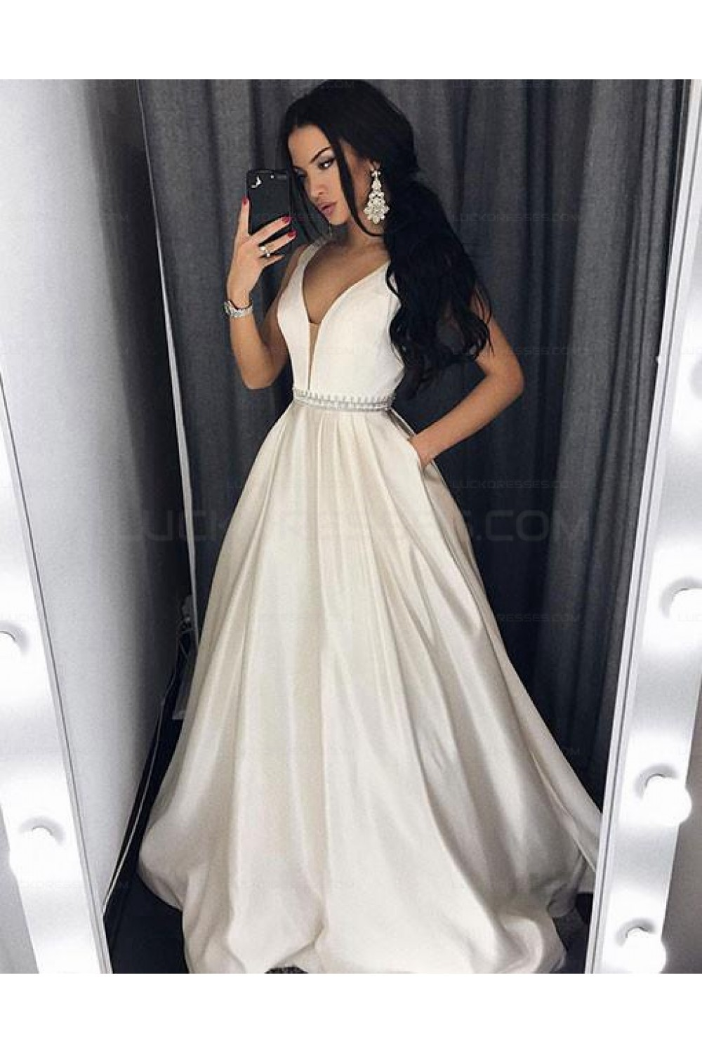 127a06642a Ball Gown V-Neck Long Prom Evening Formal Dresses 3021559