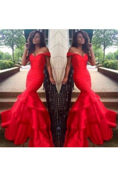 Long Red Off-the-Shoulder Prom Evening Formal Dresses 3020156