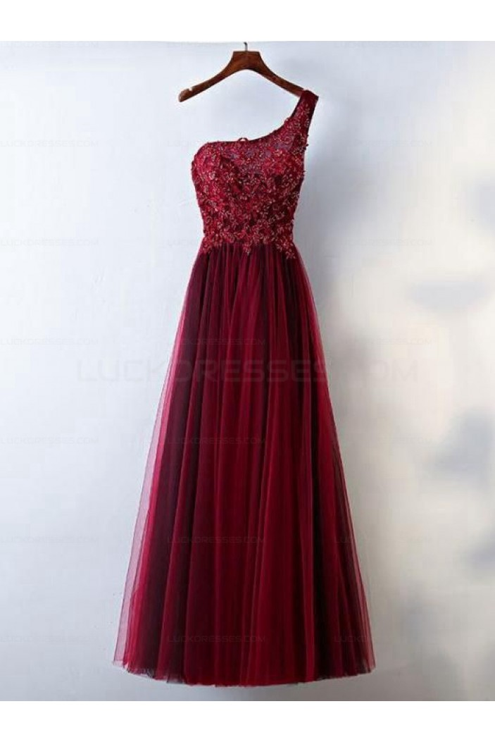 A-Line One-Shoulder Tulle Long Prom Evening Formal Dresses 3021574